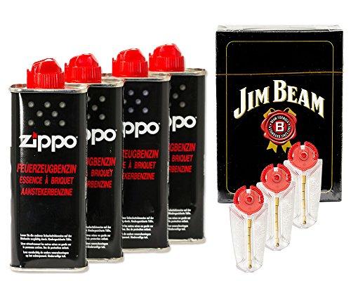 4x Original Zippo Gasolina + 3x 6piedras–Dispensador + mm Jim Beam Tarjetas Set