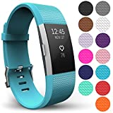 Yousave Accessories® Fitbit Charge 2 Armband, Ersatz Armband – Wristband erhältlich in 15 Farben – Groß, Cyan