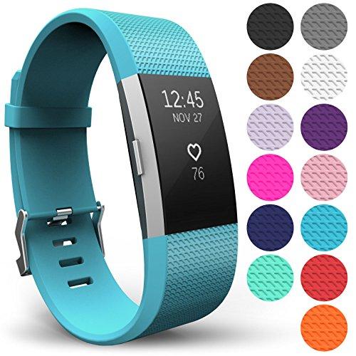 Yousave Accessories® Armband für Fitbit Charge 2, Ersatz Fitness Armband und Uhrenarmband, Silikon Sportarmband und Fitnessband, Wristband Armbänder für Fitbit Charge2 - Groß, Cyan