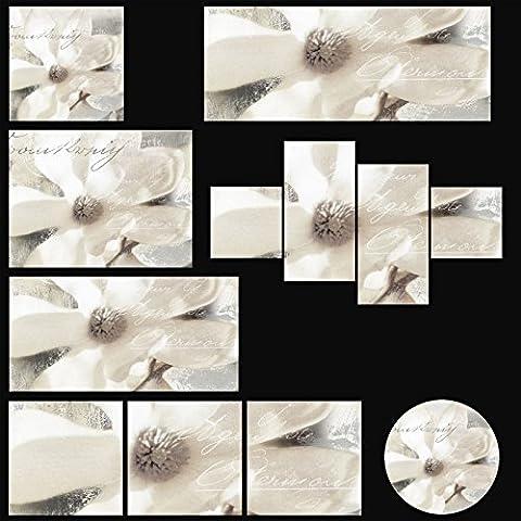 Artland photo sous verre motif magnolia cadre d.s. : magnolie_detail en plusieurs tailles, blanc, 30x60 cm / Glasbild