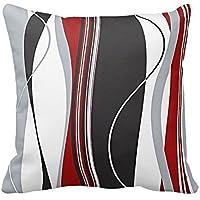 dkisee Wavy vertical rayas rojo negro blanco y gris manta funda de almohada cojín Case 16