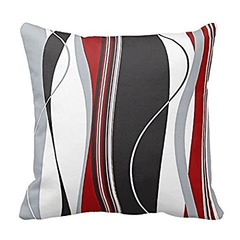 18 x 18 Inches Wavy Vertical Stripes Red Black White