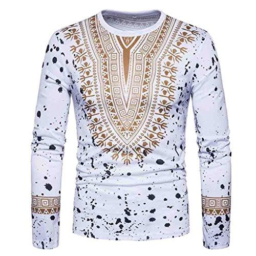 Herren Stilvolle-print T-shirt (Shirt Herren,Binggong Männer Casual African Print O-Ausschnitt Pullover langärmelige T-Shirt Top Bluse Elegant Shrit Tops Mode Bluse Stilvoll Hemd Freizeit Bekleidung Reizvolle (Weiß, M))