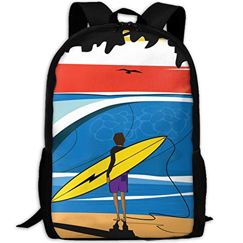 Surf Art Silhouette Unisex Adult Unique Rucksack,School Leisure Sports Book Bags,Durable Oxford Outdoor College Laptop Computer Shoulder Bags,Lightweight Travel Tagesrucksäcke