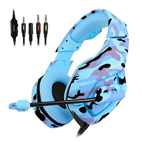 Camouflage PS4 Headset Bass Gaming Kopfhörer Casque mit Mikrofon für PC Handy Xbox One Tablet blau Blue 1
