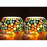 Cocodoes Hand Made Glass T-Light Candle Holder Set Of 2 With 4 Tlight Candle Free For Birthday Anniverary Diwali Christmas Hotel Spa Festival