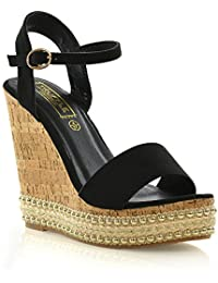 4e52aa2d58b7 Truffle Collection Womens Wedge Platform Heel Espadrilles Cork Sandals  Ladies Stud Strappy Shoes 3-8