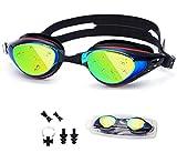 utobest gafas de natación para hombres mujeres y niños antiniebla no fugas UV Protección, Funda Resistente Al Agua + nariz Clip + tapones para los oídos + reemplazable puente de la nariz, hombre, negro