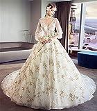LYJFSZ-7 Brautkleid,Damen Stilvolles Brautkleid Mit Ärmeln Perfekte Prinzessin Lange Große Schleppende Spitze Champagner