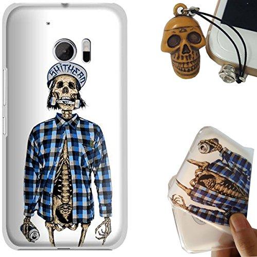 HTC 10 Custodia, Rockconcept Flessibile TPU Gel Silicone Protettivo Skin Custodia Case Cover per HTC 10 5.2 inch (Camicia cranio) [Con Spina di Polvere Libera]