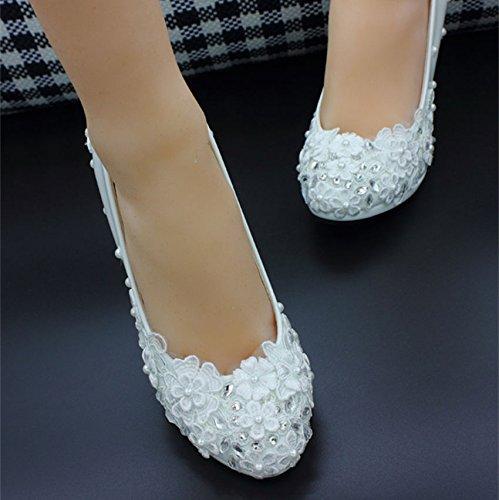 XINJING-S weiß Spitze Perlen Bogen Blumen Crystal flache Schuhe Ballet Bridal Shoes Sz 4.5 cm