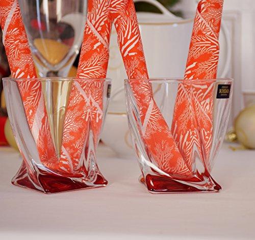 Quadro Twist Gobelet en verre cristal rouge 340 ml | Whisky esprits Scotch Whisky, Lot de 2