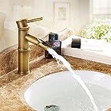 Wasserhahn Serien Kupfer-Retro-Bambus Einloch-Waschtischmischer heißen und kalten (Size : 12*20.8cm)