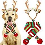 VAMEI Weihnachten Haustier Kostüm, 2 Pieces Pet Knit Christmas Scarf Rentier Geweih Stirnband für Hunde Cat (M)