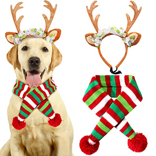 VAMEI Weihnachten Haustier Kostüm, 2 Pieces Pet Knit -