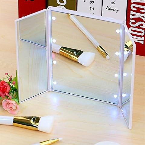 8 LED-Licht Make-up Kosmetik Tabletop Schönheit Vanity Mirror 3 Falten Portable Einstellbare Arbeitsplatte Licht Spiegel