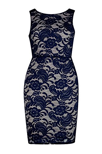 Marine Femme Petite Amy Backless Lace Bodycon Dress Marine