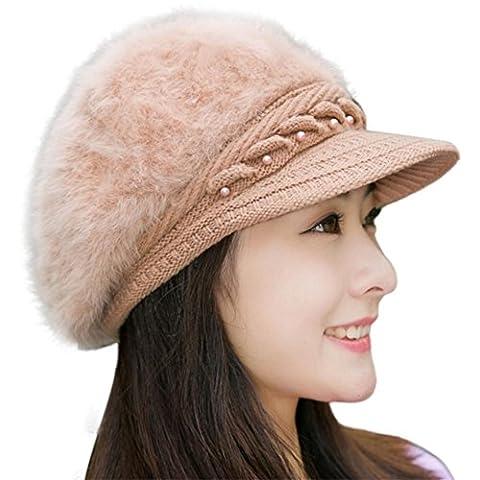 Kolylong Women Winter Warm Cap Knitted Hat Beret Baggy Beanie Hat (Khaki)