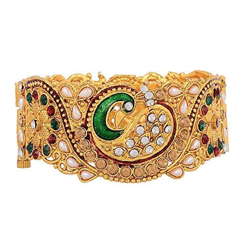 Zeneme Dancing Peacock Antique Gold Plated Bangles/Kada Jewellery for Women/Girls