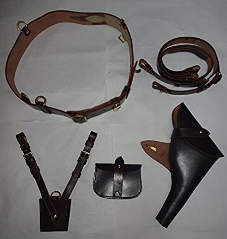 WWI British Army Officers Sam Browne Belt Set Dark Reproduction