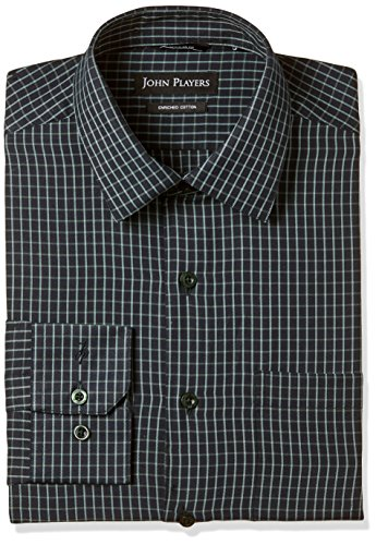 John Players Men's Plain Loose Fit Cotton Formal Shirt (JFMWSHA170006_Dark Green_44)