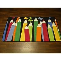 Non Slip Kids Pencils Playmat / Rug 80cm x 150cm