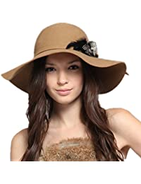 720f6fc016a Kenmont Autumn Winter Women 100% Wool Fashion Wide Brim Bucket Hat Cap