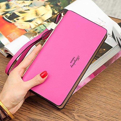 Reasoncool 2017 Moda Donne Bow Zipper borsa della moneta del raccoglitore lungo i supporti di carta borsa (Rosa caldo) Rosa caldo