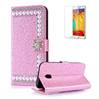 For Samsung Galaxy A520/A5 2017 Cover [with Free Screen Protector],Funyye Premium Luxury Elegance [Diamond Pearl] Embedded Vintage charming Wallet lovely sparkly Case [Credit Card Holder Slots] Stand Function Book Type Durable PU Leather Shell for Samsung
