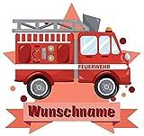 Samunshi® Feuerwehr-Auto Aufkleber mit Namen Autoaufkleber Namensaufkleber Kinder in 7 Größen (20x17,5cm Mehrfarbig)