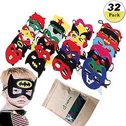 JunYito® Mascaras de Superhéroes 32 Piezas Niños Niñas Antifaces de Superhéroes Chicos Suministros Regalo de Fiesta de cumpleaño Navidad Halloween Carnaval (32 Piezas Mascaras)