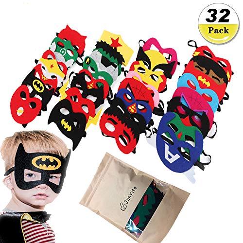 JunYito® Superhelden Masken 32 Stück für Kinder Jungen Mädchen Geburtstagsparty Halloween Karneval Weihnachten Geschenke (32 Stück Masken)