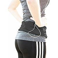 Phizik : Top Running Utility Belt, Fitness Workout Flip Waist Belt, Unisex, Green Black Pink, Hiking, Biking,Yoga, Cycling, Walking, Shopping - Holds iPhone 6,7,8 plus - Keys and Valuables 100% Secure