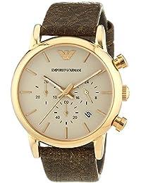 Emporio Armani  - Reloj de cuarzo para hombre, correa de cuero color marrón