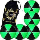 5x Flames N Games ASTRIX UV Thud Jonglierbälle 5er Set (Schwarz/UV Grun) Profi Beanbag Bälle aus Glattleder (Leather) + Reisetasche! Ideal für Anfänger und Profis!
