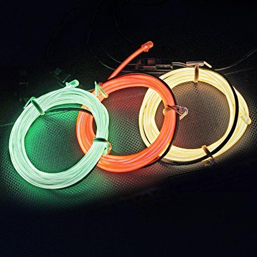5FT / 1.5M Sound aktiviert Neon leuchtende Strobing Elektrolumineszenzdraht (Ton aktivierte EL-Draht Yellow Orange Grün) für Party-Tanz-Auto-Dekor Halloween (Kostüme Tanz Dekorationen)