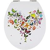Sanwood by Nicol 6098537papillon Abattant de WC en panneau MDF Core Charnière Barre en métal plaqué chrome Transparent 1l
