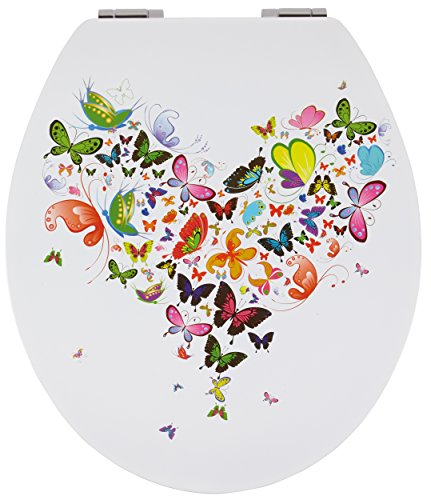 SANWOOD WC-Sitz Butterfly Glossy Art mit hochglänzender Oberfläche, Reversed-Edge-Form, Toilettensitz mit Absenkautomatik Soft Close, Holz, Motiv, 44.5 x 37.8 x 5.7 cm