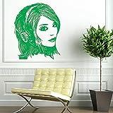 Adesivo Murale Vinile Adesivo murale Arte Decorazione murale Ascolta musica Bella ragazza di moda in cuffia Decorazione domestica Murale B 42 * 52cm