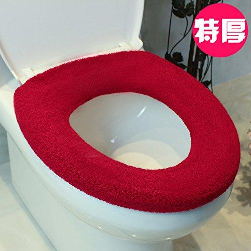 Dicke flauschige WC-Sitz Sitzpolster-O-U-Quadrat ein universelles Kit wc Kit wc Ring ein Pad beim Kauf von 2 Tickets 1 Ticket Gratis, Wein rot