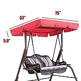 Essort Swing Top Cover, impermeabile anti-UV Swing Top copertura Canopy ricambio per esterno portico Patio Swing, 190x 132x 14cm rosso