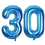 SMARCY Luftballon Nummer 30 zum 30. Geburtstag Folienballon Dekoration von 30 ans (Blau)