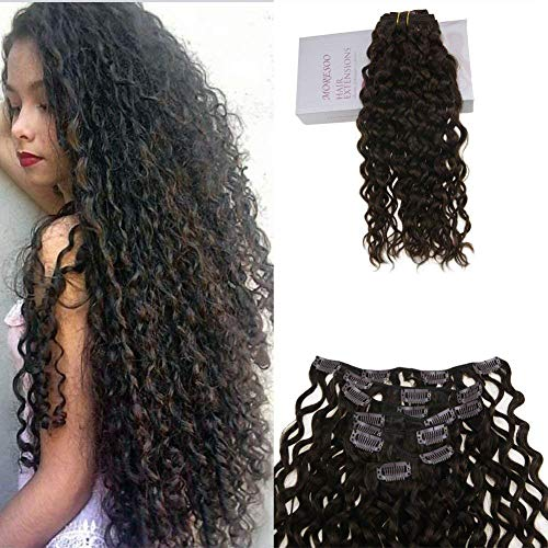 Moresoo Clip in Human Hair Extensions Natural Wave 100% Brasilianisch Remy Echthaar Tressen Hair Extensions 24 Zoll 7 pcs 120g