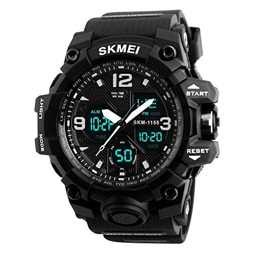 HiChili LED Stoßfest für Herren Uhren-Armbanduhr Sportuhren 50 Meter wasserdicht, Militär Armbanduhr Sport-Uhren Digitaluhr LED-Licht Display Sport-Armbanduhr für Outdoor, Schwarz