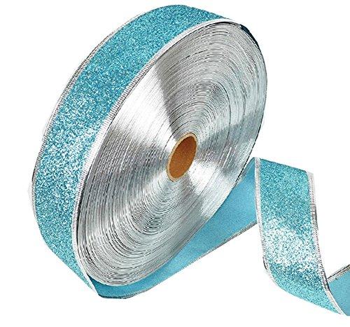 Band Schleifenband mit Glitzereffekt für Weihnachten Party Dekoration Geschenkpapier 200* 5cm, hellblau, M (Spring Party Dekorationen)