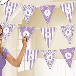 Amscan International–Lila damasco, diseño de lunares y rayas personalizado papel banderín banderines