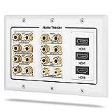 Fosmon Plaque Murale pour Haut-Parleurs,7.2 Av Son Surround Prise Audio Murale [3-Gang] Wall Plate,pour Banana Fiches,Home Cinéma,Vidéo,fil d'enceinte (Bornes de Sortie Cuivré Plaqué Or,RCA Jack HDMI)