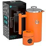 FRENCH PRESS/KAFFEEBEREITER/TEEBEREITER 1 Liter von Coffee Gator - Doppelwandige Französische Kaffeepresse um Kaffee länger warm zu behalten - Kaffeekanne in Orange - Mini Kaffeedose gratis dazu
