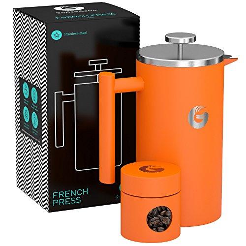 FRENCH PRESS/KAFFEEBEREITER / TEEBEREITER 1 Liter von Coffee Gator - Doppelwandige Französische...