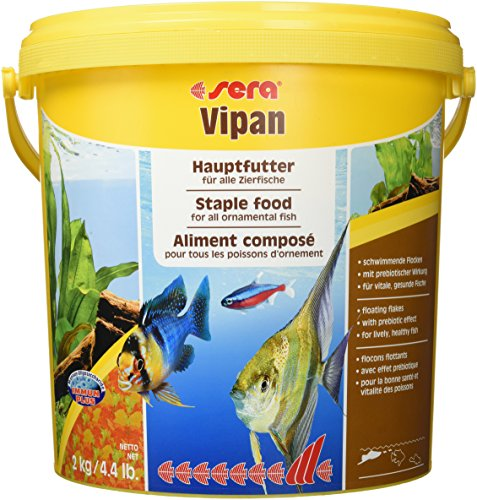 sera 00191 vipan Großflock. 2 kg (10 l) -  der Klassiker - Hauptfutter für alle Zierfische in Gesellschaftsaquarien, Flockenfutter, für schönere und größere Fische